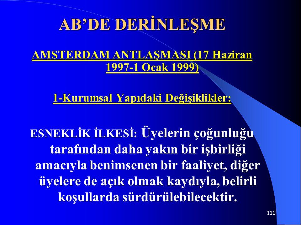 AB'DE DERİNLEŞME AMSTERDAM ANTLAŞMASI (17 Haziran 1997-1 Ocak 1999) 1-Kurumsal Yapıdaki Değişiklikler: ESNEKLİK İLKESİ: Üyelerin çoğunluğu tarafından