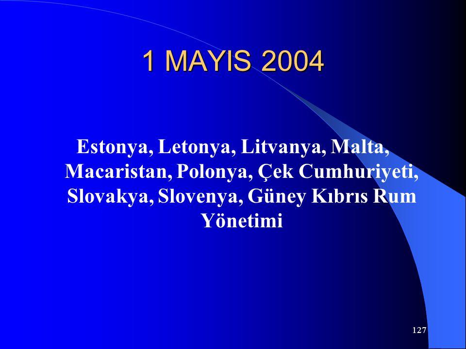 127 1 MAYIS 2004 Estonya, Letonya, Litvanya, Malta, Macaristan, Polonya, Çek Cumhuriyeti, Slovakya, Slovenya, Güney Kıbrıs Rum Yönetimi