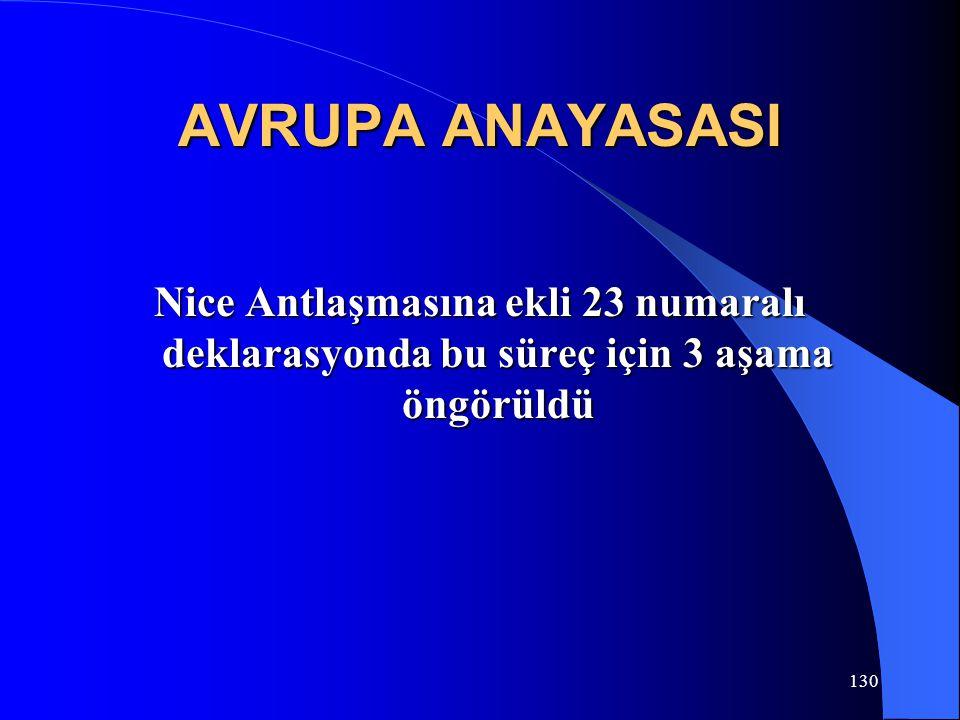 130 AVRUPA ANAYASASI Nice Antlaşmasına ekli 23 numaralı deklarasyonda bu süreç için 3 aşama öngörüldü