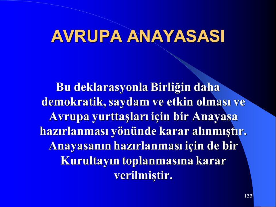 AVRUPA ANAYASASI Bu deklarasyonla Birliğin daha demokratik, saydam ve etkin olması ve Avrupa yurttaşları için bir Anayasa hazırlanması yönünde karar a