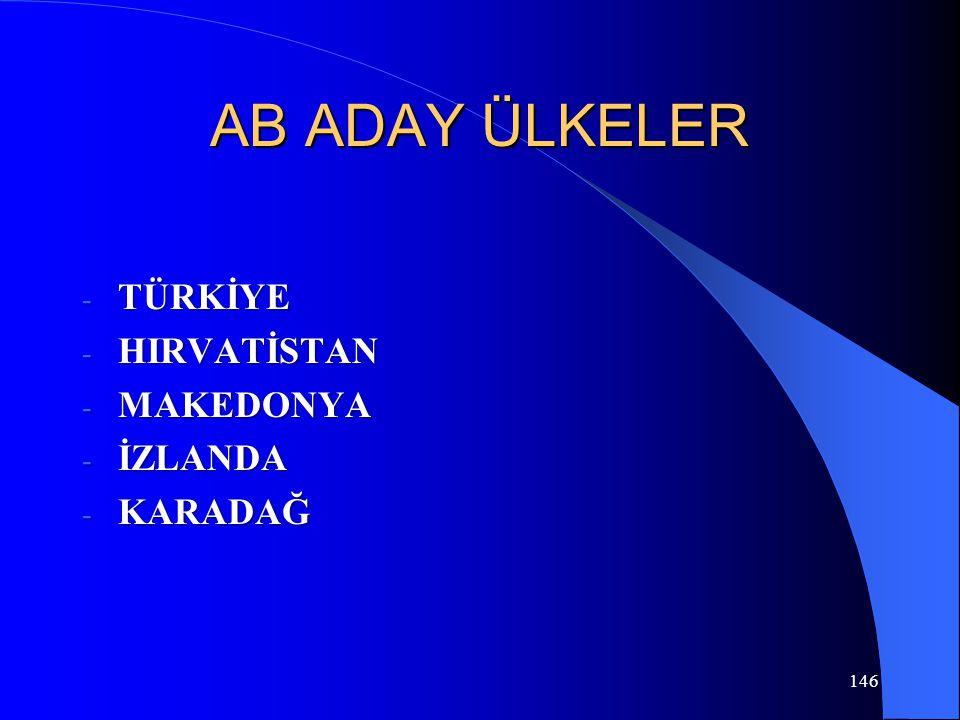 146 AB ADAY ÜLKELER - TÜRKİYE - HIRVATİSTAN - MAKEDONYA - İZLANDA - KARADAĞ