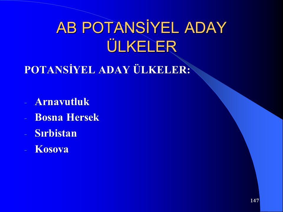 147 AB POTANSİYEL ADAY ÜLKELER POTANSİYEL ADAY ÜLKELER: - Arnavutluk - Bosna Hersek - Sırbistan - Kosova