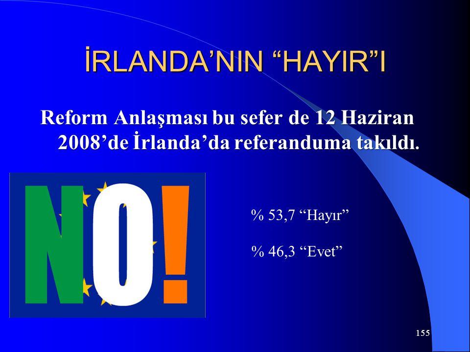 """155 İRLANDA'NIN """"HAYIR""""I Reform Anlaşması bu sefer de 12 Haziran 2008'de İrlanda'da referanduma takıldı. % 53,7 """"Hayır"""" % 46,3 """"Evet"""""""