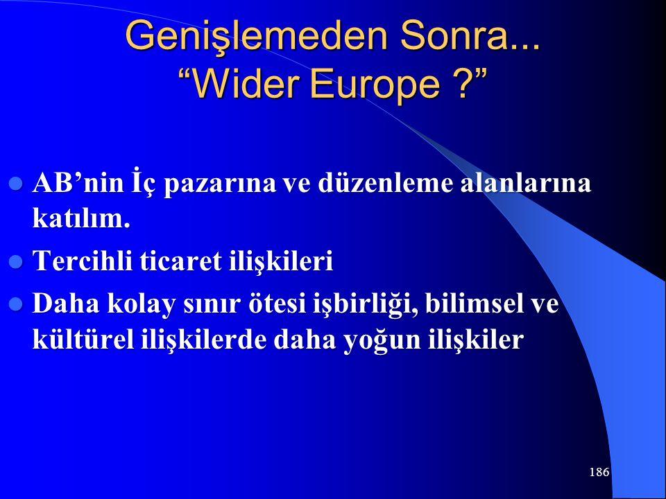 """186 Genişlemeden Sonra... """"Wider Europe ?"""" AB'nin İç pazarına ve düzenleme alanlarına katılım. AB'nin İç pazarına ve düzenleme alanlarına katılım. Ter"""