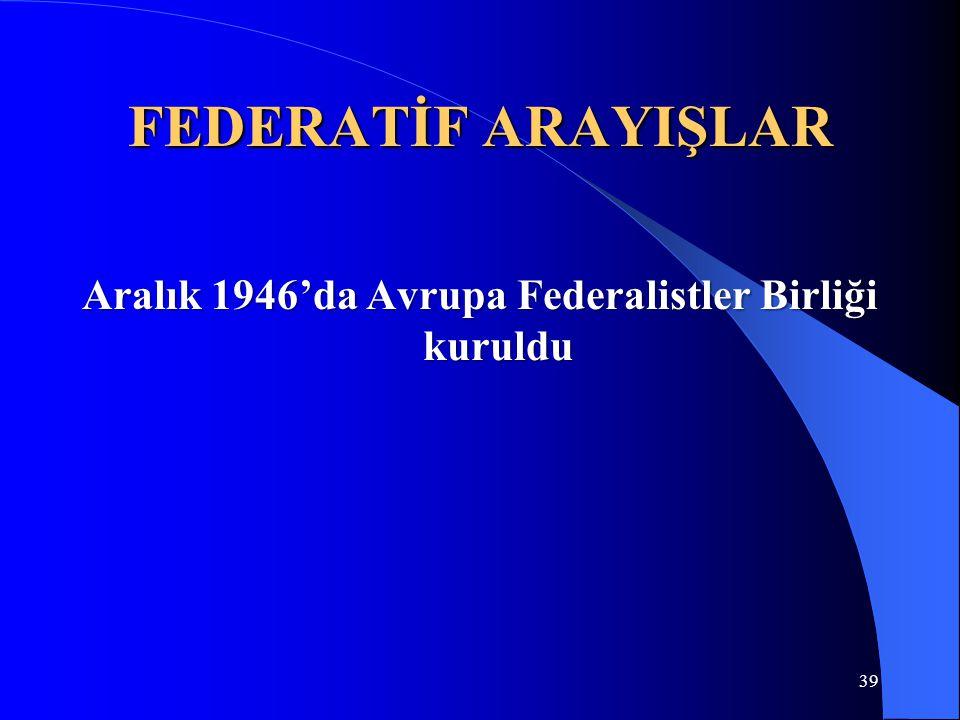 FEDERATİF ARAYIŞLAR Aralık 1946'da Avrupa Federalistler Birliği kuruldu 39