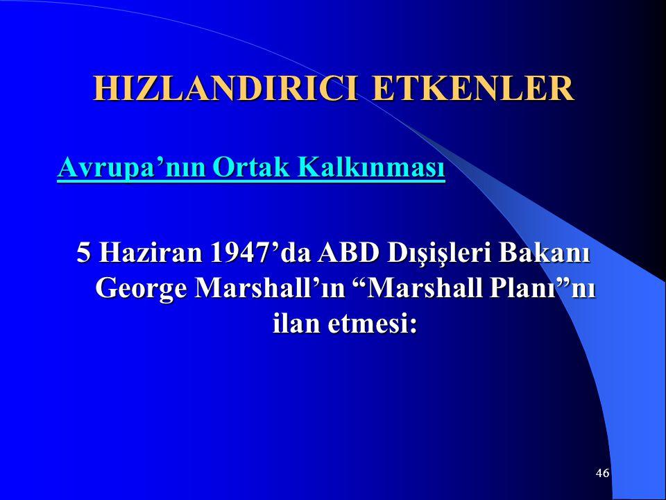 """46 HIZLANDIRICI ETKENLER Avrupa'nın Ortak Kalkınması 5 Haziran 1947'da ABD Dışişleri Bakanı George Marshall'ın """"Marshall Planı""""nı ilan etmesi:"""