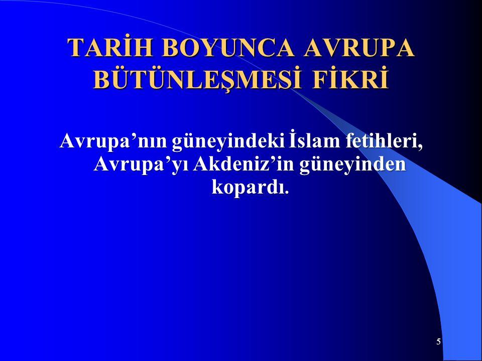 5 TARİH BOYUNCA AVRUPA BÜTÜNLEŞMESİ FİKRİ Avrupa'nın güneyindeki İslam fetihleri, Avrupa'yı Akdeniz'in güneyinden kopardı.