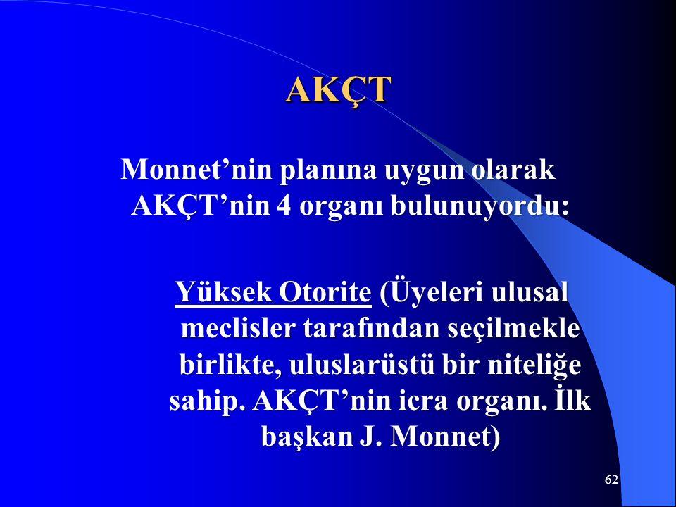62 AKÇT Monnet'nin planına uygun olarak AKÇT'nin 4 organı bulunuyordu: Yüksek Otorite (Üyeleri ulusal meclisler tarafından seçilmekle birlikte, ulusla