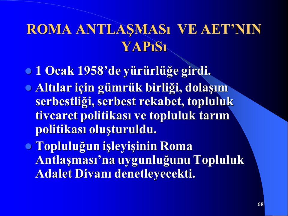 68 ROMA ANTLAŞMASı VE AET'NIN YAPıSı 1 Ocak 1958'de yürürlüğe girdi. 1 Ocak 1958'de yürürlüğe girdi. Altılar için gümrük birliği, dolaşım serbestliği,