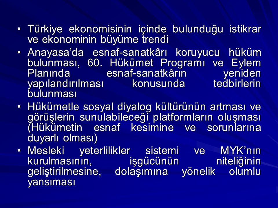 Türkiye ekonomisinin içinde bulunduğu istikrar ve ekonominin büyüme trendiTürkiye ekonomisinin içinde bulunduğu istikrar ve ekonominin büyüme trendi Anayasa'da esnaf-sanatkârı koruyucu hüküm bulunması, 60.