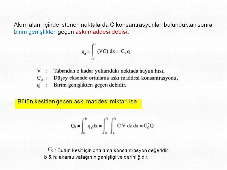 Akım alanı içinde istenen noktalarda C konsantrasyonları bulunduktan sonra birim genişlikten geçen askı maddesi debisi: Bütün kesitlen geçen askı maddesi miktarı ise : Bütün kesit için ortalama konsantrasyon değeridir.