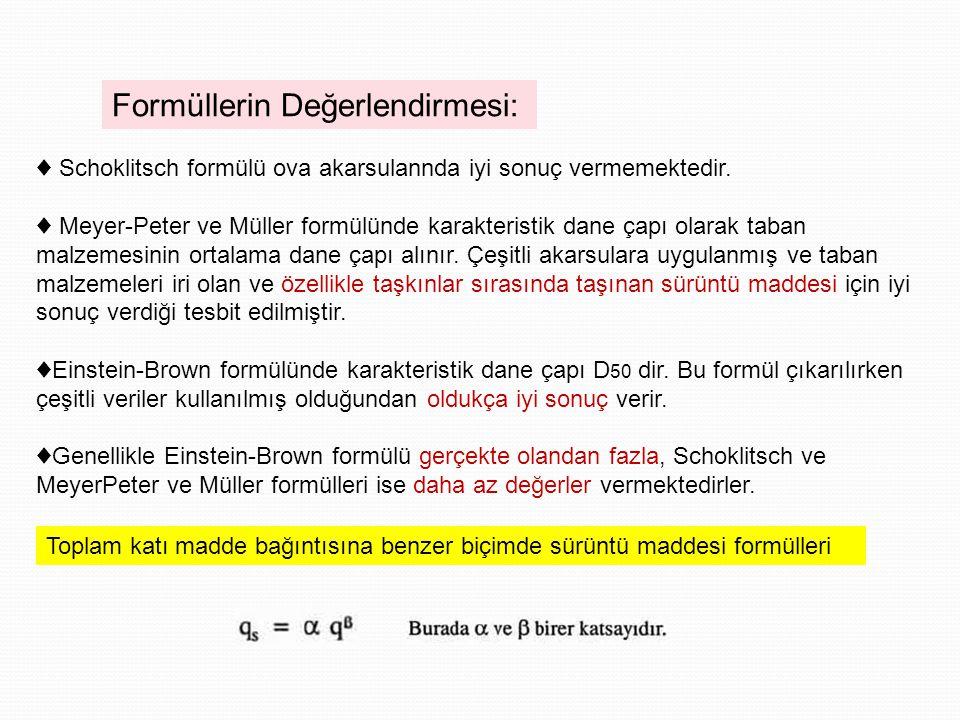 Formüllerin Değerlendirmesi: ♦ Schoklitsch formülü ova akarsulannda iyi sonuç vermemektedir.