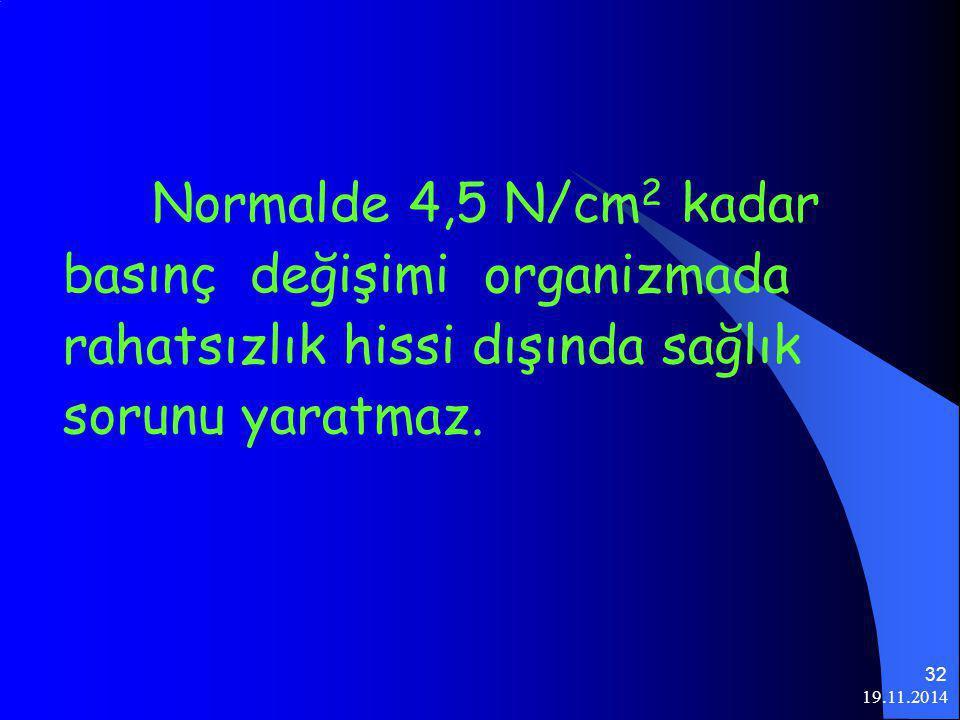 19.11.2014 32 Normalde 4,5 N/cm 2 kadar basınç değişimi organizmada rahatsızlık hissi dışında sağlık sorunu yaratmaz.
