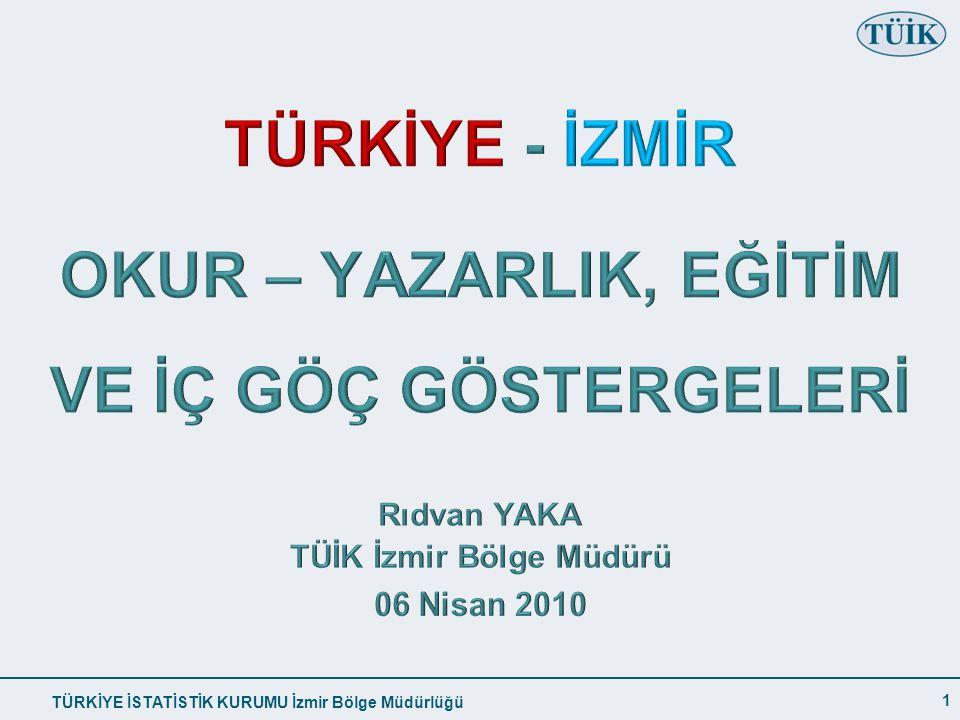 TÜRKİYE İSTATİSTİK KURUMU İzmir Bölge Müdürlüğü 15+ YAŞ OKUMA YAZMA BİLMEYEN ORANI 1 (%) 12