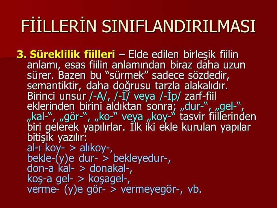 FİİLLERİN SINIFLANDIRILMASI 3.