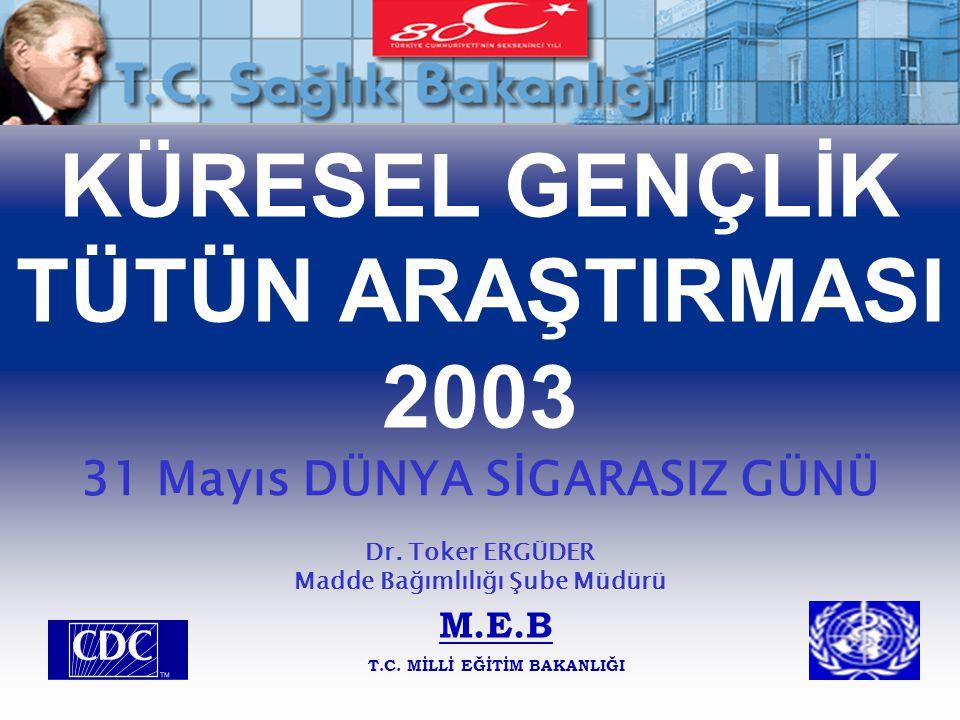 KÜRESEL GENÇLİK TÜTÜN ARAŞTIRMASI 2003 31 Mayıs DÜNYA SİGARASIZ GÜNÜ Dr. Toker ERGÜDER Madde Bağımlılığı Şube Müdürü M.E.B T.C. MİLLİ EĞİTİM BAKANLIĞI