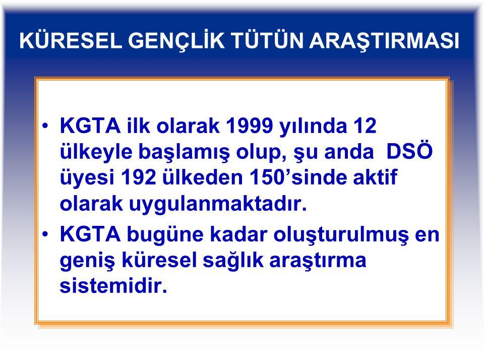 KGTA ilk olarak 1999 yılında 12 ülkeyle başlamış olup, şu anda DSÖ üyesi 192 ülkeden 150'sinde aktif olarak uygulanmaktadır. KGTA bugüne kadar oluştur