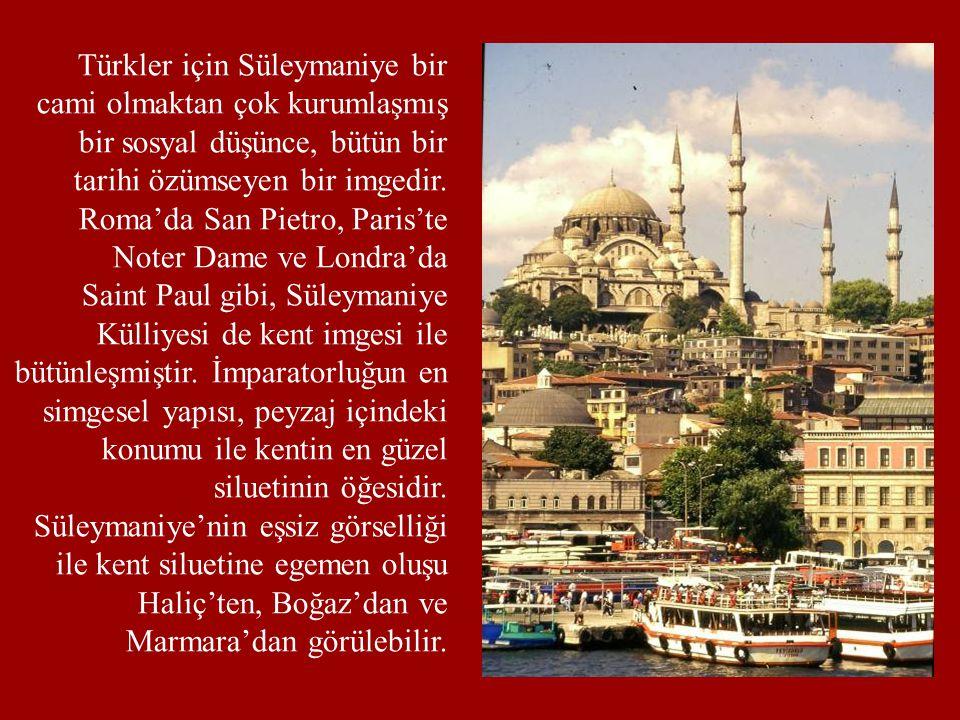 Türkler için Süleymaniye bir cami olmaktan çok kurumlaşmış bir sosyal düşünce, bütün bir tarihi özümseyen bir imgedir. Roma'da San Pietro, Paris'te No