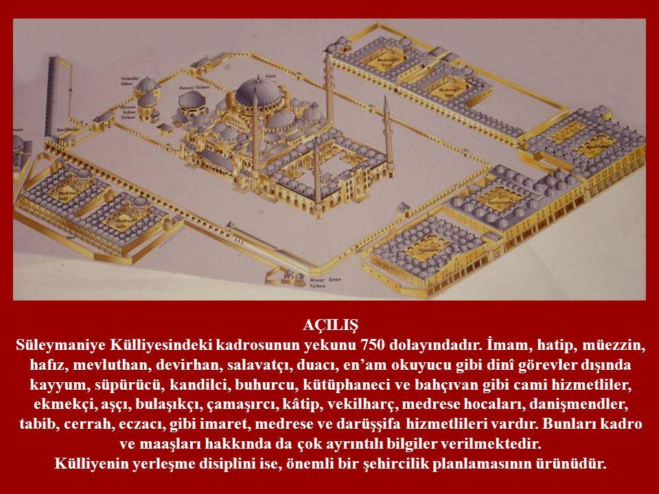 AÇILIŞ Süleymaniye Külliyesindeki kadrosunun yekunu 750 dolayındadır. İmam, hatip, müezzin, hafız, mevluthan, devirhan, salavatçı, duacı, en'am okuyuc