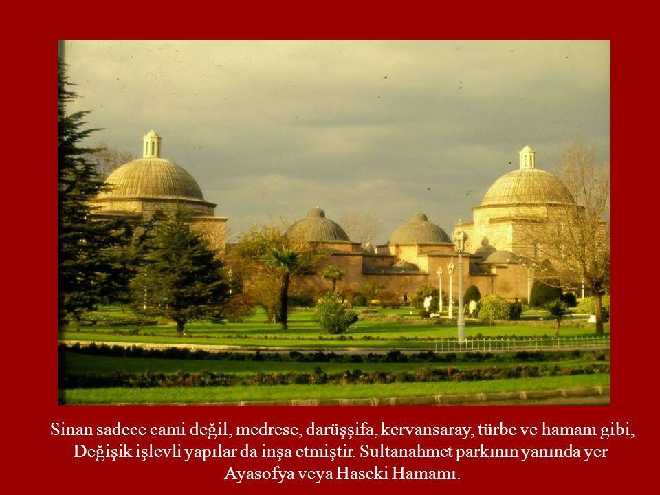Sinan sadece cami değil, medrese, darüşşifa, kervansaray, türbe ve hamam gibi, Değişik işlevli yapılar da inşa etmiştir. Sultanahmet parkının yanında