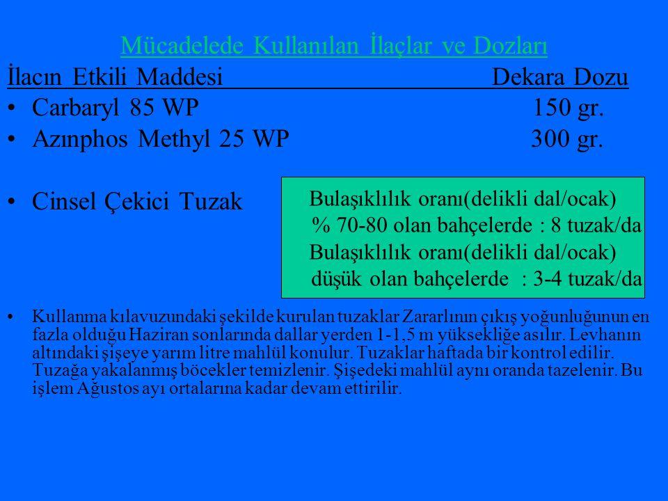 Mücadelede Kullanılan İlaçlar ve Dozları İlacın Etkili Maddesi Dekara Dozu Carbaryl 85 WP 150 gr.