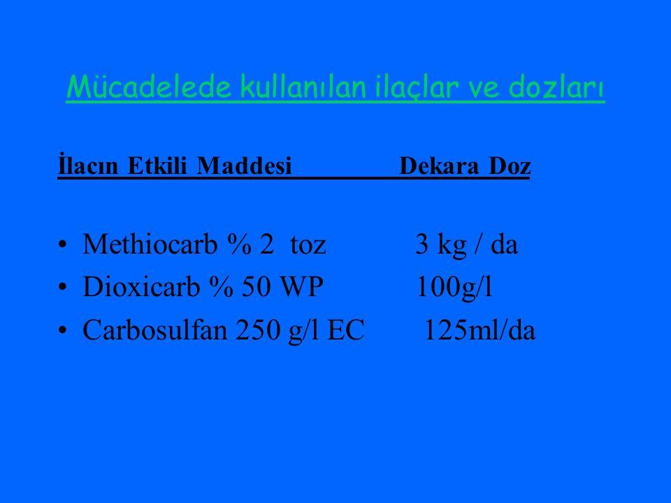 Mücadelede kullanılan ilaçlar ve dozları İlacın Etkili Maddesi Dekara Doz Methiocarb % 2 toz 3 kg / da Dioxicarb % 50 WP 100g/l Carbosulfan 250 g/l EC 125ml/da