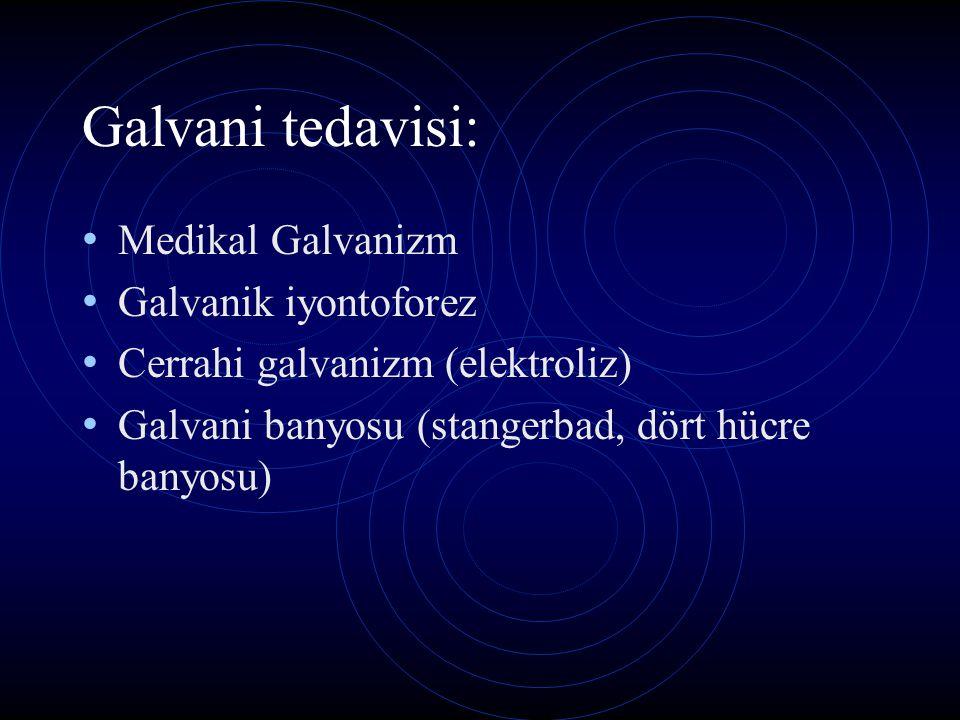 Galvani tedavisi: Medikal Galvanizm Galvanik iyontoforez Cerrahi galvanizm (elektroliz) Galvani banyosu (stangerbad, dört hücre banyosu)