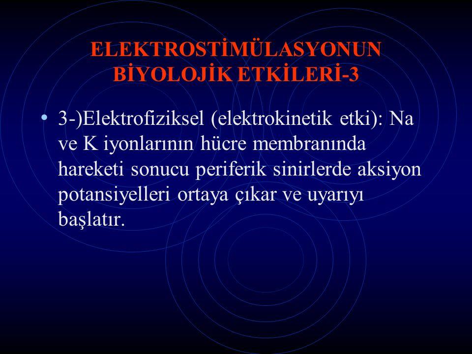 ELEKTROSTİMÜLASYONUN BİYOLOJİK ETKİLERİ-3 3-)Elektrofiziksel (elektrokinetik etki): Na ve K iyonlarının hücre membranında hareketi sonucu periferik si