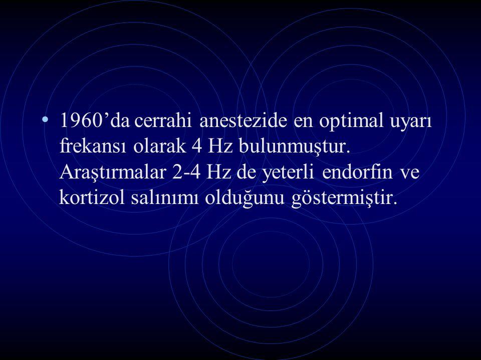 1960'da cerrahi anestezide en optimal uyarı frekansı olarak 4 Hz bulunmuştur. Araştırmalar 2-4 Hz de yeterli endorfin ve kortizol salınımı olduğunu gö