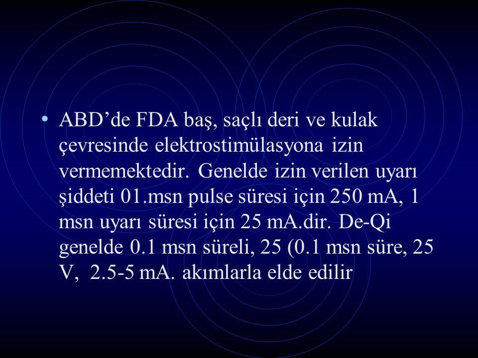 ABD'de FDA baş, saçlı deri ve kulak çevresinde elektrostimülasyona izin vermemektedir. Genelde izin verilen uyarı şiddeti 01.msn pulse süresi için 250