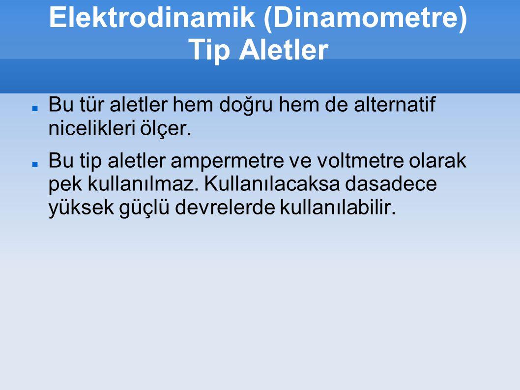 Elektrodinamik (Dinamometre) Tip Aletler Bu tür aletler hem doğru hem de alternatif nicelikleri ölçer. Bu tip aletler ampermetre ve voltmetre olarak p