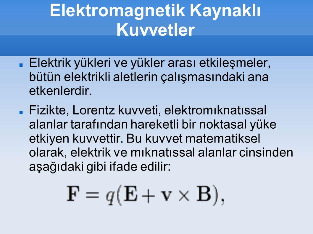 Elektromagnetik Kaynaklı Kuvvetler Elektrik yükleri ve yükler arası etkileşmeler, bütün elektrikli aletlerin çalışmasındaki ana etkenlerdir. Fizikte,