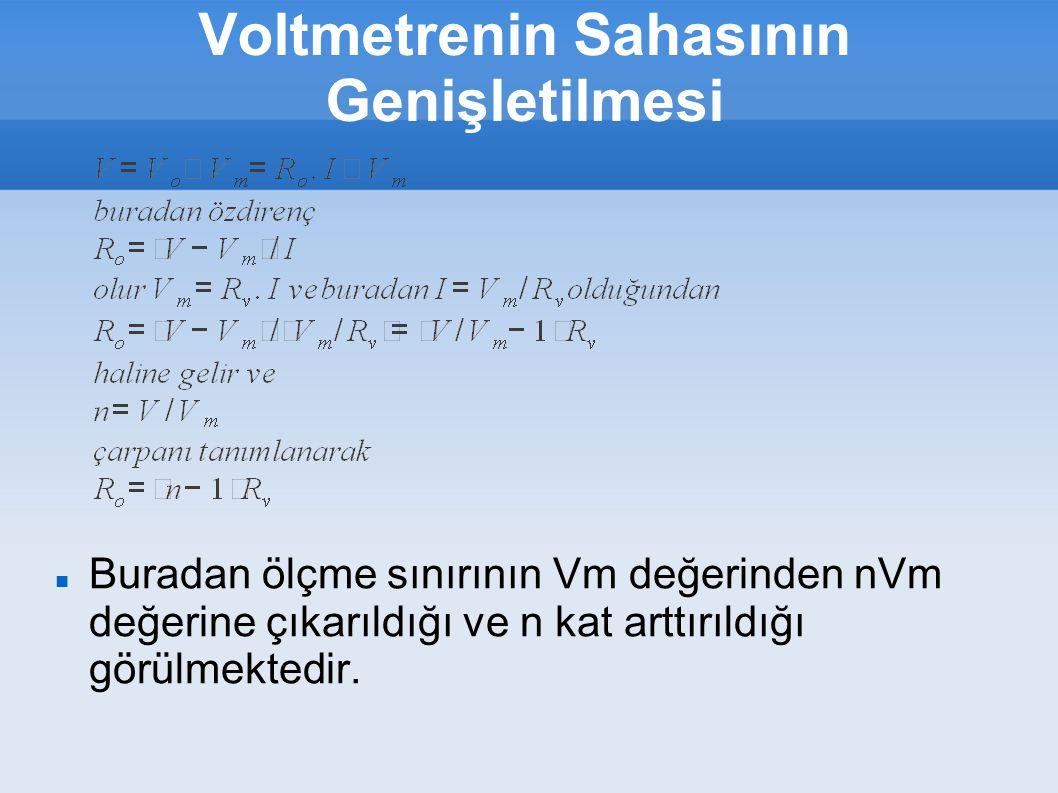 Voltmetrenin Sahasının Genişletilmesi Buradan ölçme sınırının Vm değerinden nVm değerine çıkarıldığı ve n kat arttırıldığı görülmektedir.