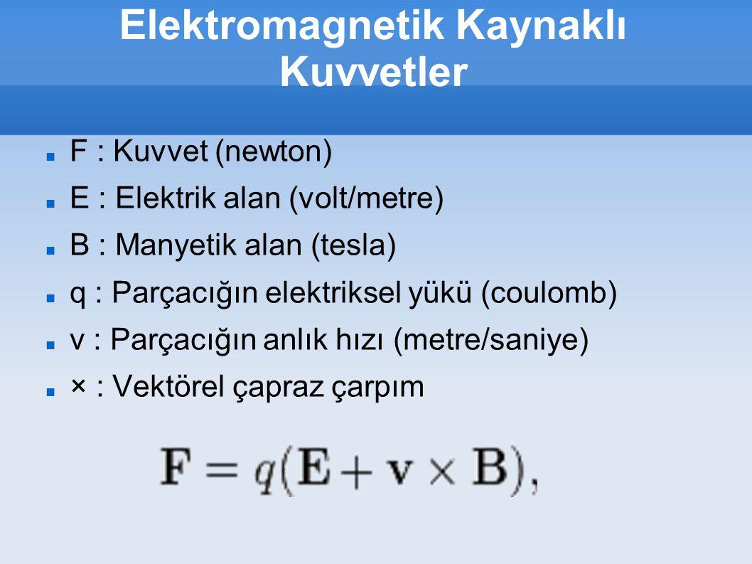 Elektromagnetik Kaynaklı Kuvvetler F : Kuvvet (newton) E : Elektrik alan (volt/metre) B : Manyetik alan (tesla) q : Parçacığın elektriksel yükü (coulo
