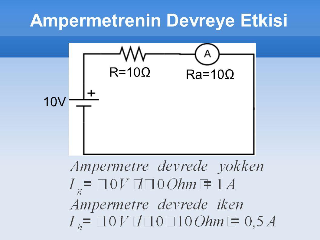 Ampermetrenin Devreye Etkisi 10V R=10Ω Ra=10Ω