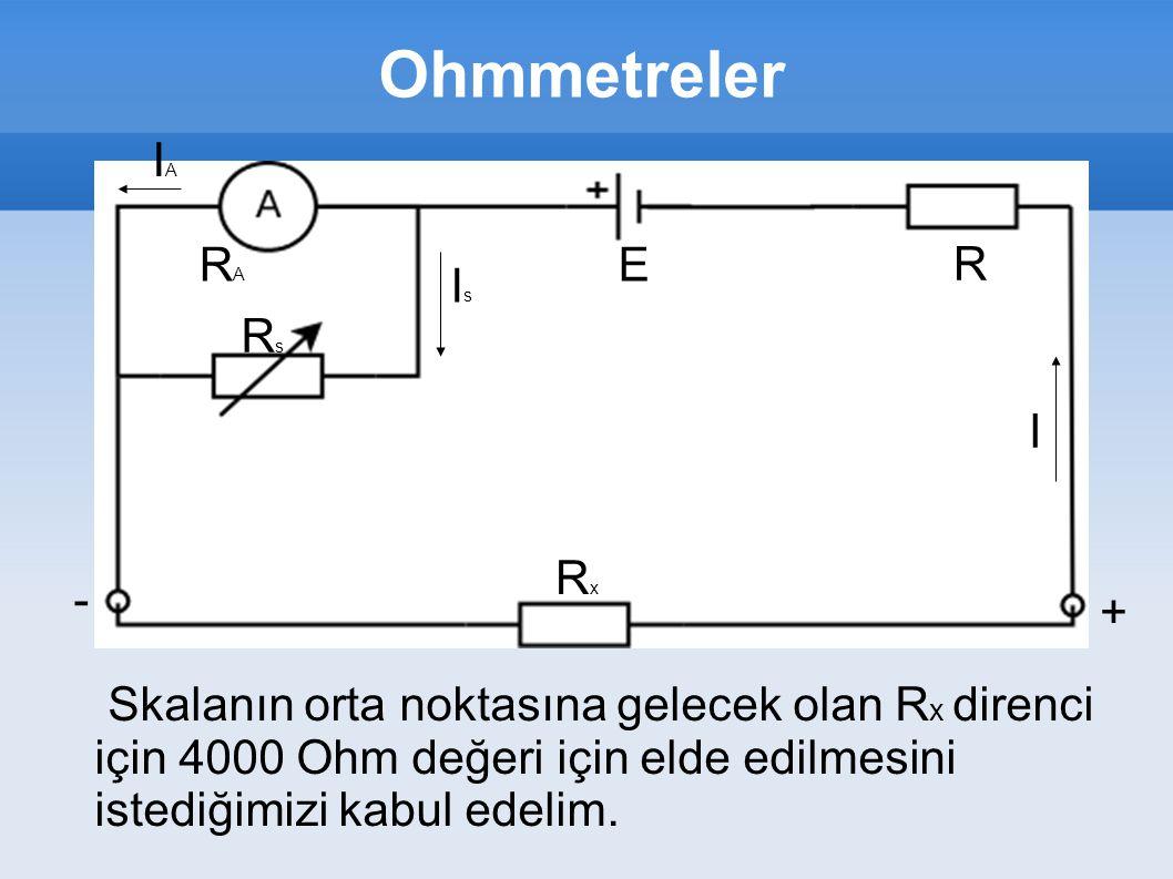 Ohmmetreler IAIA RARA RsRs IsIs RxRx R I - + E Skalanın orta noktasına gelecek olan R x direnci için 4000 Ohm değeri için elde edilmesini istediğimizi