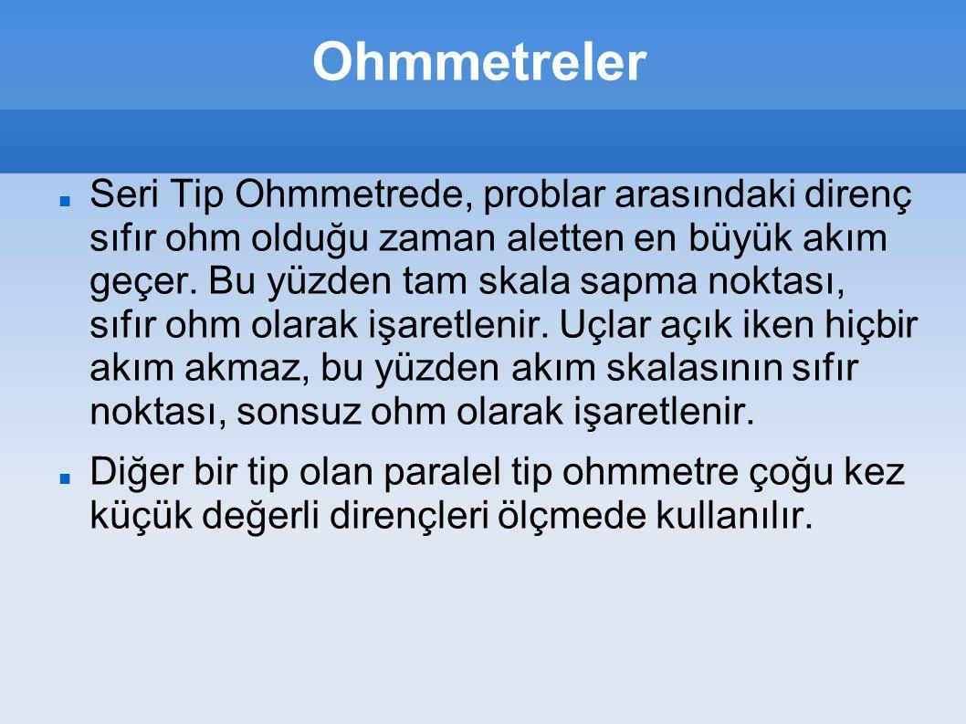 Ohmmetreler Seri Tip Ohmmetrede, problar arasındaki direnç sıfır ohm olduğu zaman aletten en büyük akım geçer. Bu yüzden tam skala sapma noktası, sıfı