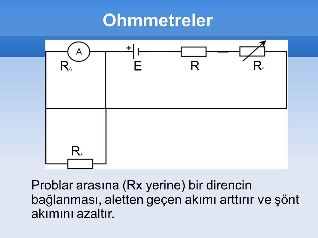 Ohmmetreler RARA RsRs RxRx R E Problar arasına (Rx yerine) bir direncin bağlanması, aletten geçen akımı arttırır ve şönt akımını azaltır.