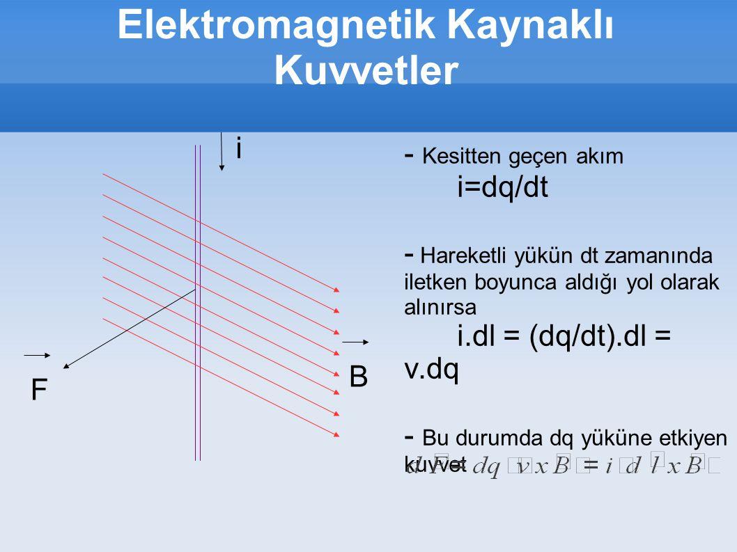 Elektromagnetik Kaynaklı Kuvvetler i B F - Kesitten geçen akım i=dq/dt - Hareketli yükün dt zamanında iletken boyunca aldığı yol olarak alınırsa i.dl