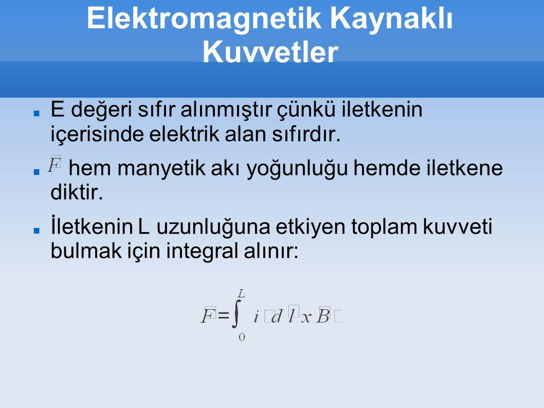 Elektromagnetik Kaynaklı Kuvvetler Sonuçları basitleştirmek için iletken ye dik olarak alınır ise : buradan F=B.i.L B iletken boyunca sabit alınmıştır.