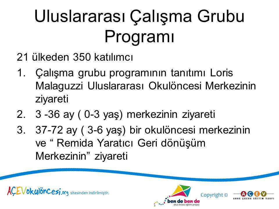 Uluslararası Çalışma Grubu Programı 21 ülkeden 350 katılımcı 1.Çalışma grubu programının tanıtımı Loris Malaguzzi Uluslararası Okulöncesi Merkezinin z