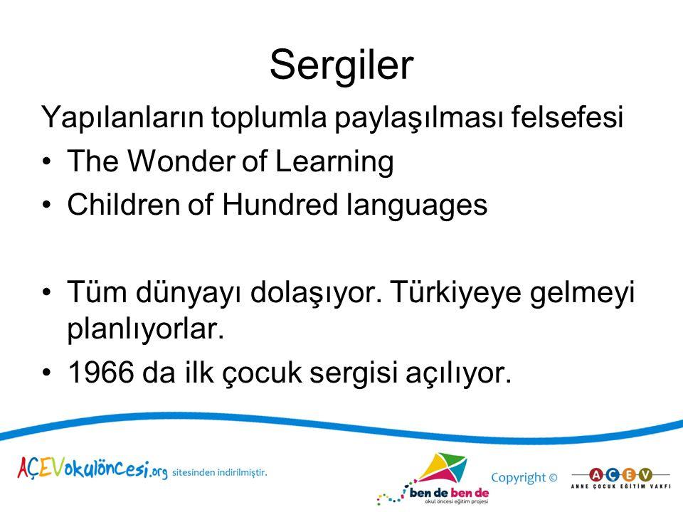 Sergiler Yapılanların toplumla paylaşılması felsefesi The Wonder of Learning Children of Hundred languages Tüm dünyayı dolaşıyor. Türkiyeye gelmeyi pl