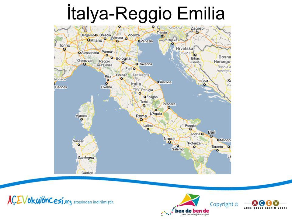 Okullaşma oranı İtalya 0-3 yaş %18,5 3-6 yaş %98 Reggio Emilia 0-3 yaş %40 3-6 yaş %98 Sunulan hizmetler 19 katolik kilisesine bağlı 3-6 yaş okul öncesi kurumu 14 devlete ait 3-6 yaş OÖ kurumu 23 belediye ait 3-6 yas OÖ kurumu 13 0-3 yas merkezi 15 özel ihtiyaçlara yönelik 0-3 yaş ve 5 3-6 yaş merkezi