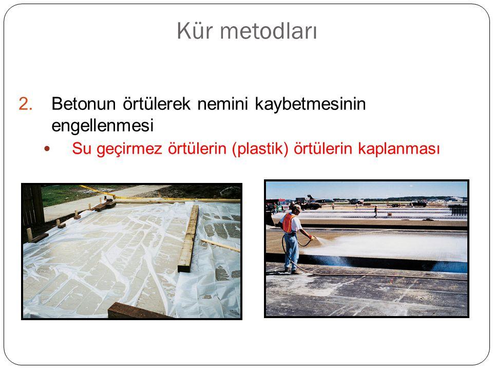 Kür metodları 2.Betonun örtülerek nemini kaybetmesinin engellenmesi Su geçirmez örtülerin (plastik) örtülerin kaplanması