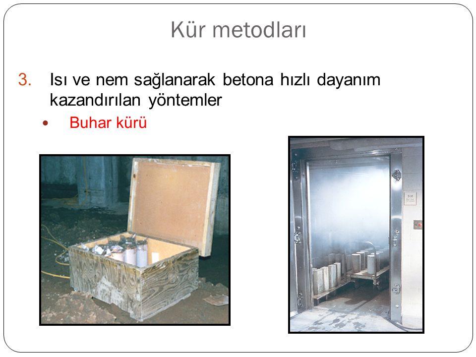 Kür metodları 3.Isı ve nem sağlanarak betona hızlı dayanım kazandırılan yöntemler Buhar kürü