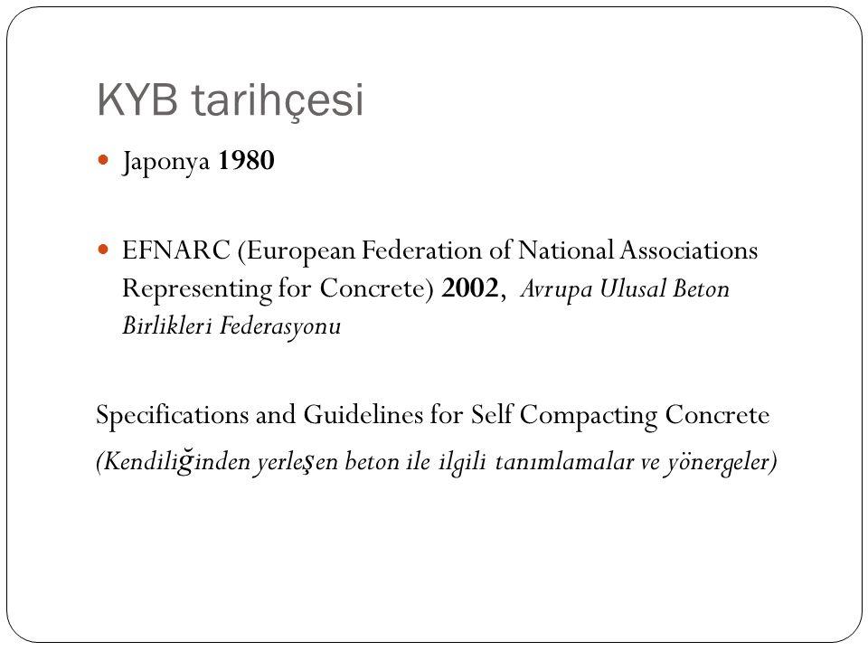 KYB tarihçesi Japonya 1980 EFNARC (European Federation of National Associations Representing for Concrete) 2002, Avrupa Ulusal Beton Birlikleri Federasyonu Specifications and Guidelines for Self Compacting Concrete (Kendili ğ inden yerle ş en beton ile ilgili tanımlamalar ve yönergeler)