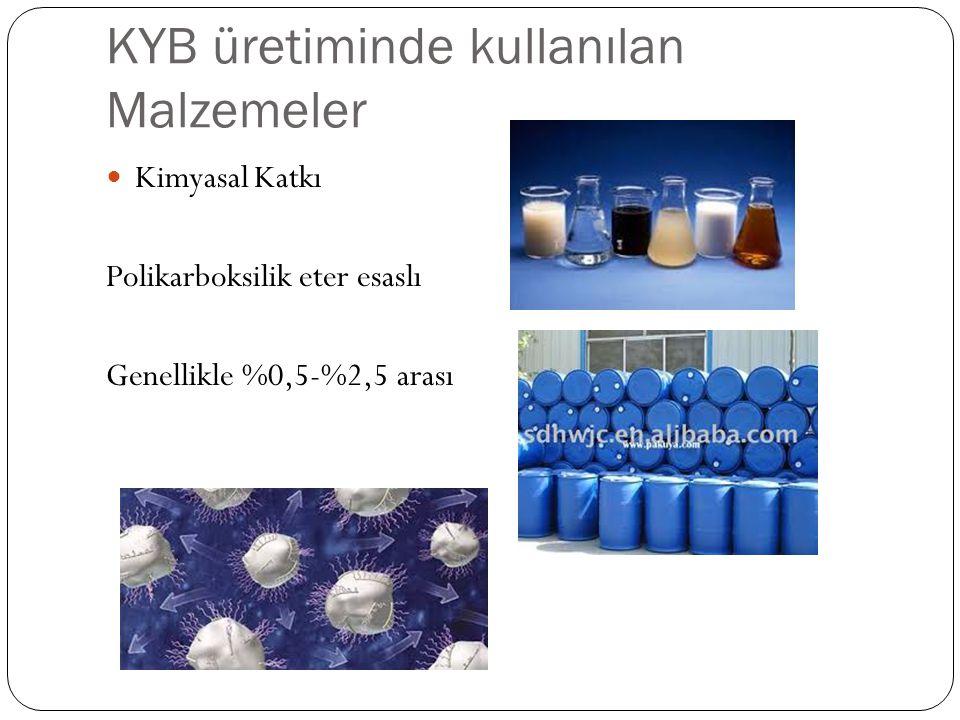 KYB üretiminde kullanılan Malzemeler Kimyasal Katkı Polikarboksilik eter esaslı Genellikle %0,5-%2,5 arası