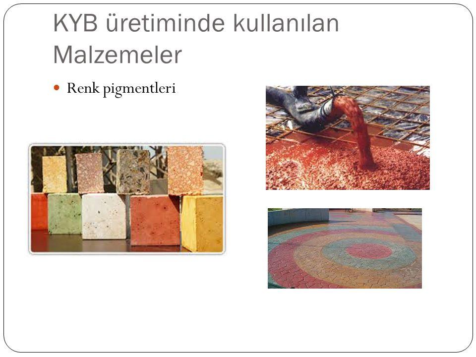 KYB üretiminde kullanılan Malzemeler Renk pigmentleri