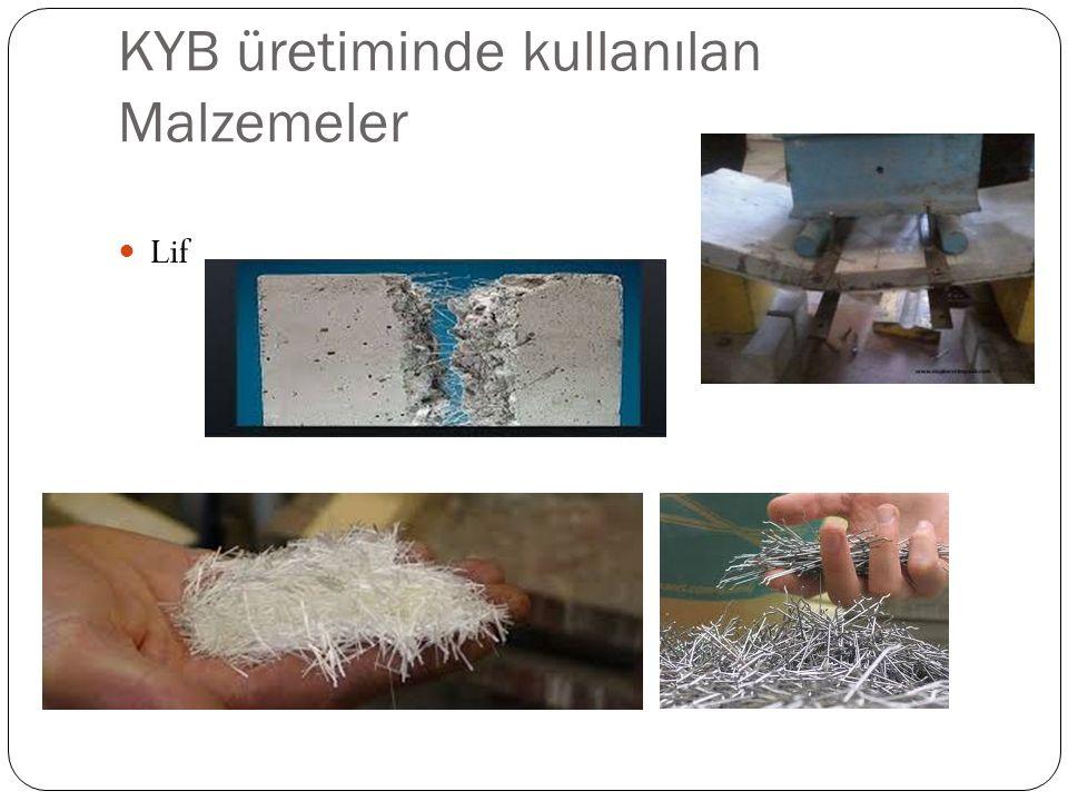 KYB üretiminde kullanılan Malzemeler Lif