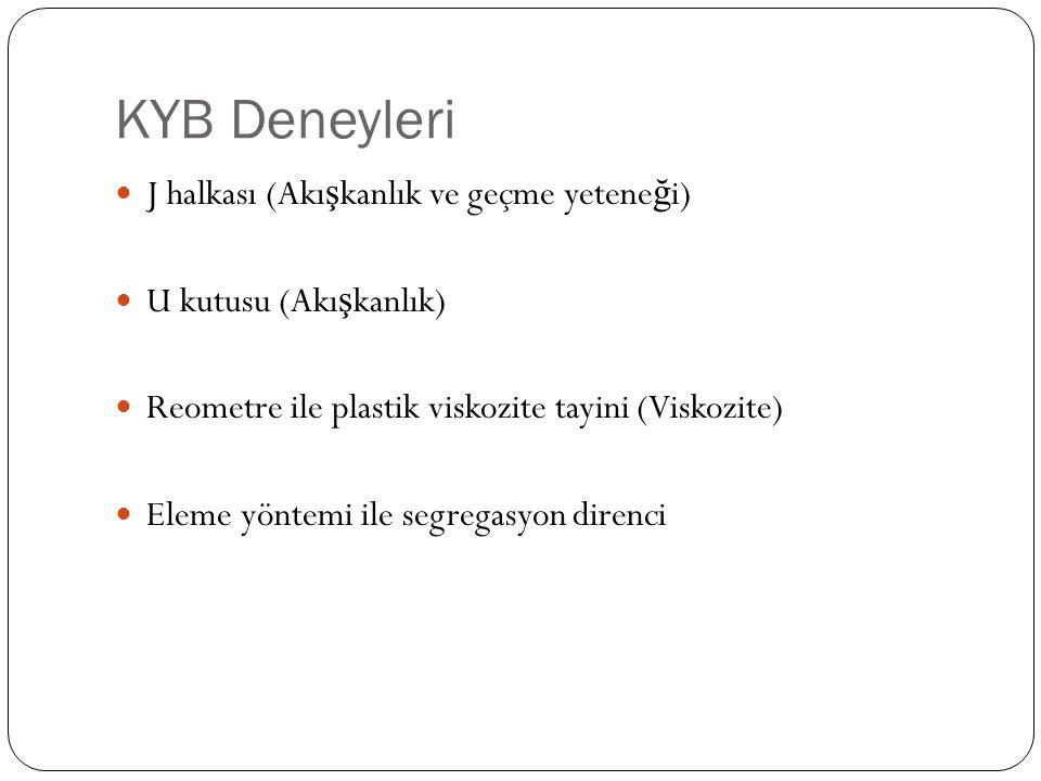 KYB Deneyleri J halkası (Akı ş kanlık ve geçme yetene ğ i) U kutusu (Akı ş kanlık) Reometre ile plastik viskozite tayini (Viskozite) Eleme yöntemi ile segregasyon direnci